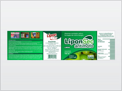 Lipon, Embalagem, Rótulo, LiponSec Antimofo, Limão