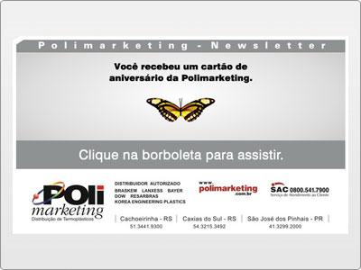 Polimarketing, Newsletter, Animada em Flash, Aniversário Pessoa Física, Borboleta